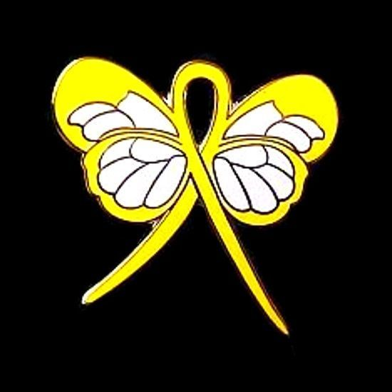 Yellow Awareness Ribbon Butterfly Pin Cancer Cause Support Inspirational New image 5