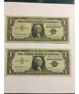 two one dollar 1957 Silver Certificates, circulated condition , on sale - $6.95