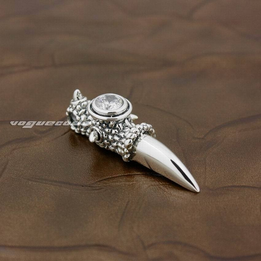 LINSION 925 Sterling Silver Huge Dragon Claw White CZ Pendant Necklace for Mens image 5