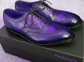 Oxford Brogue Purple Burnished Wingtip Real Leather Party Wear Men Dress... - $129.99+