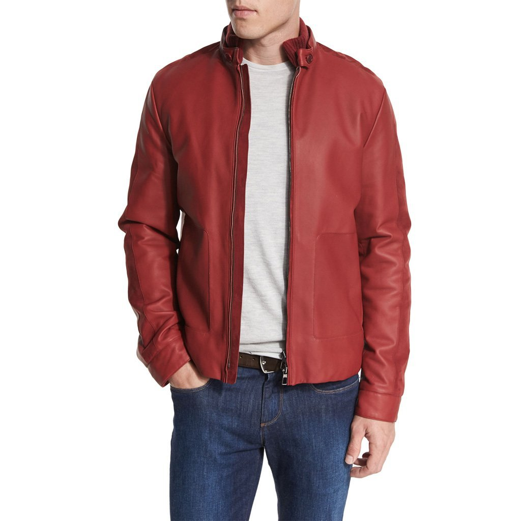 Tab Collar Men Red Leather Jacket