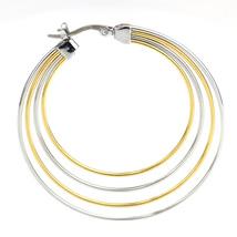 Trendy Large Silver & Gold Tone (Two Tone) Hoop Earrings- United Elegance image 3