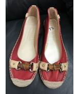 Etienne Aigner Red Leather Espadrille Flats Sz 7.5 NWOB NEW - $99.99