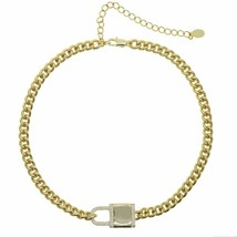New Wide Heavy Curb Cuban Link Chain Micro Pave Lock Pendant Gold Color ... - $15.97