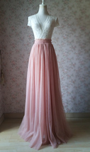 Coral Pink Long Tulle Skirt Coral Wedding Guest Tulle Skirt Floor Length image 12