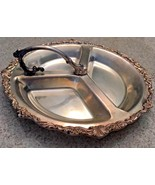 "Vintage (60's) Sheridan Silverplate Divided 12 1/2"" Serving Platter With... - $23.38"