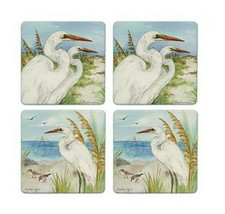 Great Egrets Coasters New Set of 4 CoasterStone Absorbing Cork Backing  - $25.73