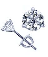 0.35 Ct H/VS Round Natural Diamond 3-Prong Martini Stud Earrings 14k Whi... - $509.37