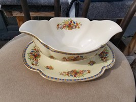 Gravy Boat with Attached Underplate in Victoria (Floral Basket) by Johns... - $29.65