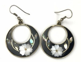 Mother Of Pearl Shell Inlay Earrings Black Enamel Pierced Hook Flower Me... - $24.75