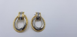 Vintage 1980s Round Gold Tone Edges With Silver Tone Middle Earrings EUC - $7.68