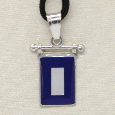 SOLID 925 STERLING SILVER PENDANT WITH NAUTICAL FLAG, LETTER P, ENAMEL, CHARM