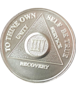 25 Year .999 Fine Silver AA Alcoholics Anonymous Medallion Chip Coin XXV - £29.32 GBP