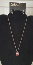 """Heart Necklace Earring Set Silvertone Red 18"""" Small Dainty - $10.40"""