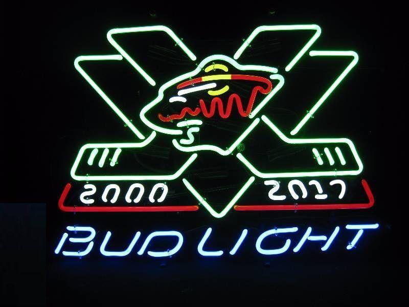 "Rare Bud Light Minnesota Wild NHL 2000-2017 Neon Sign 24""x24"""