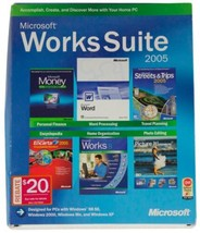 MICROSOFT WORKS SUITE 2005 5-Disc SET Windows 2000 XP 98 SE Software CIB... - $28.04