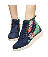 Chinese Embroidery Shoes embroidered Canvas sports shoes navy - $633,70 MXN