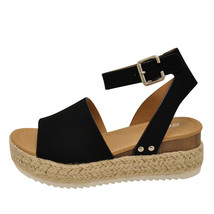 Soda TOPIC Black Women's Platform Wedge Espadrille Sandals - $31.95+
