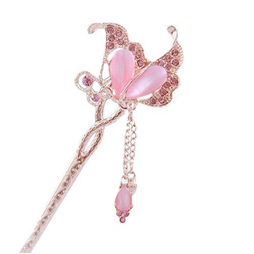 "5.9"" Chinese Traditional Metal Opal Butterfly Ladies/ Girls Hair Stick, PINK"