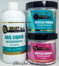 Legacy Nails 16oz Nail Liquid (no MMA) + 1or2 of 8oz AcrylicPowder Clear... - $48.50+