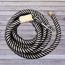 Action Company Braided Trainer's Lead Rope with Rawhide Accents Navy and White image 2