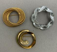 Napier Gerrys Avon Circle Brooch Lot Silver Gold Tone Rhinestone Rope Mo... - $16.79