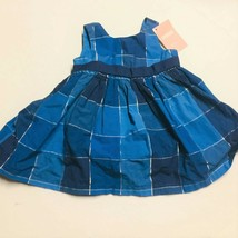 Baby Girl 3 6 months Blue Plaid Gymboree Dress Silver - $12.60