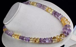 NATURAL CITRINE AMETHYST BEADS FACETED 1 LINE 875 CARATS GEMSTONE NECKLACE image 4
