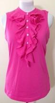 """Womens Ralph Lauren Bright Pink Ruffle Neck T Shirt Size Medium """"lauren"""" - $66.65"""