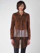 Diesel Brown  L-Sunita Leather Fringe Jacket Sz S NWT MSRP $728 - $346.50
