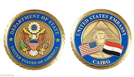 "UNITED STATES EMBASSY CAIRO EGYPT CROSSED FLAGS 2""  CHALLENGE COIN - $16.24"