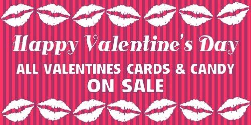3x6 Vinyl Banner - Happy Valentines Day Cards Candy