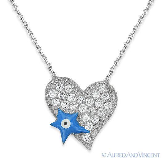 Evil Eye Heart Pendant Turkish Nazar Greek Jewish Hamsa Sterling Silver Necklace image 2