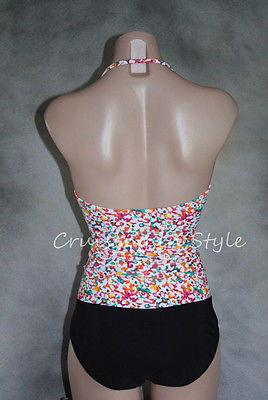 Gottex Swimsuit Multi-color Black Floral Bandeau Strapless One-Piece sz 16 NEW