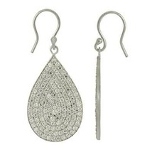 Round White Topaz Pear Shape Cluster Dangling 925 Silver Earring - $30.80