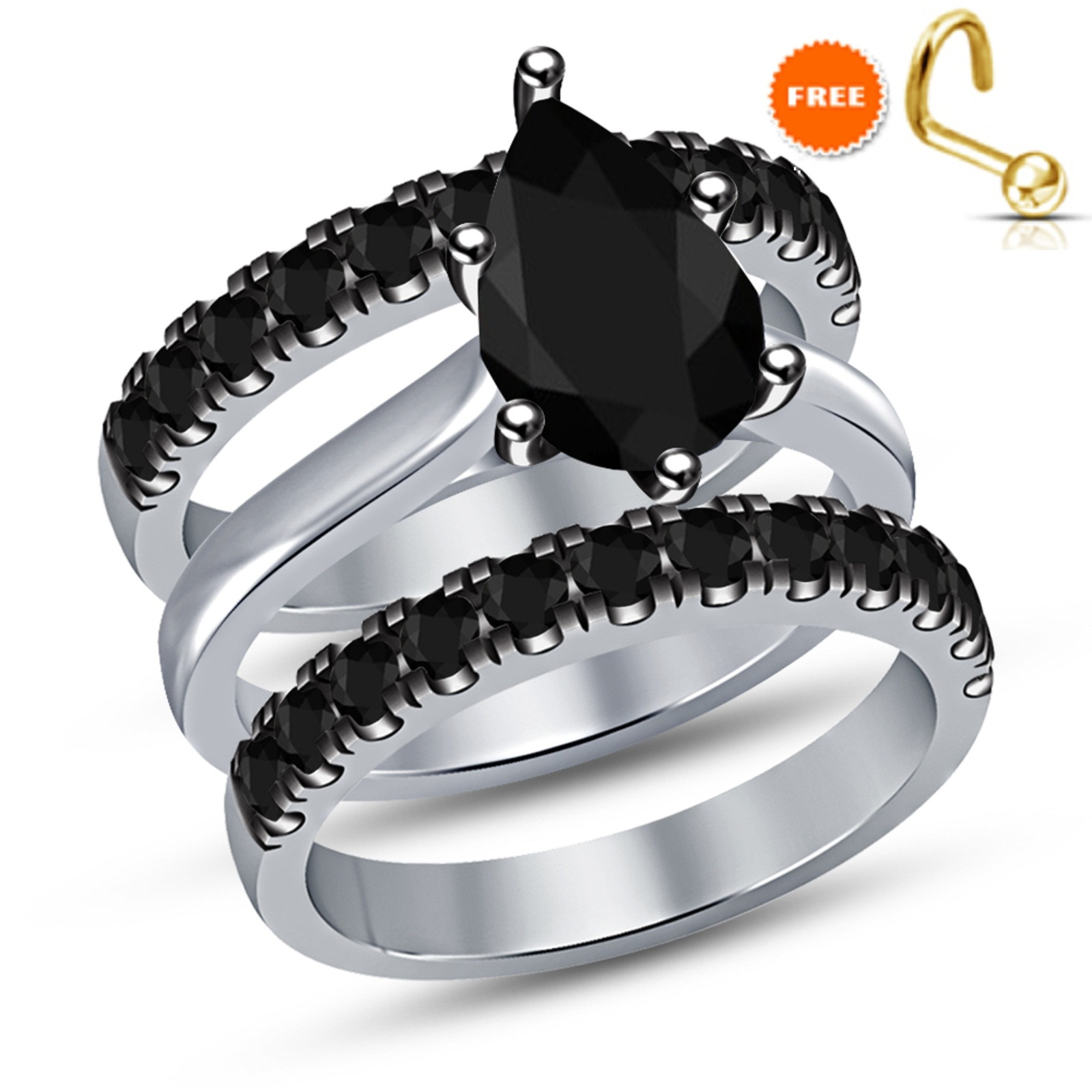 Pear Cut Halo Black Simulated Diamond Promise Bridal Ring Set 14k White Gold Fin - $102.33