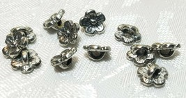 3 Pcs. Flower Fine Pewter Button - 8x8x4mm; 2mm Hole image 1