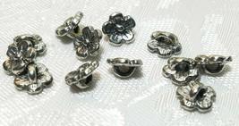 3 Pcs. Flower Fine Pewter Button - 8x8x4mm; 2mm Hole