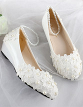 Ivory White Lace Pearl Ankle Straps Wedding Wedge Shoes Bridal Wedge UK ... - £30.95 GBP