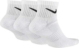 Nike Unisex Everyday Cushion Ankle Training Socks (3 Pair) (White/Black, L) - $39.86