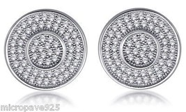 Gorgeous Sterling Silver 925 Fashion Studs Earrings Pave Setting Cubic Zirconia  - $42.74