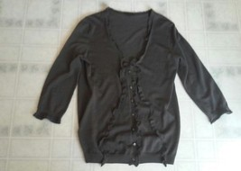 Ann Taylor Size Small Brown Extra Fine Merino Wool Ruffled Cardigan 3/4 Sleeve - $18.55