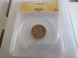 1956 , Lincoln Penny , MS 63 , RB , Anacs - $15.00