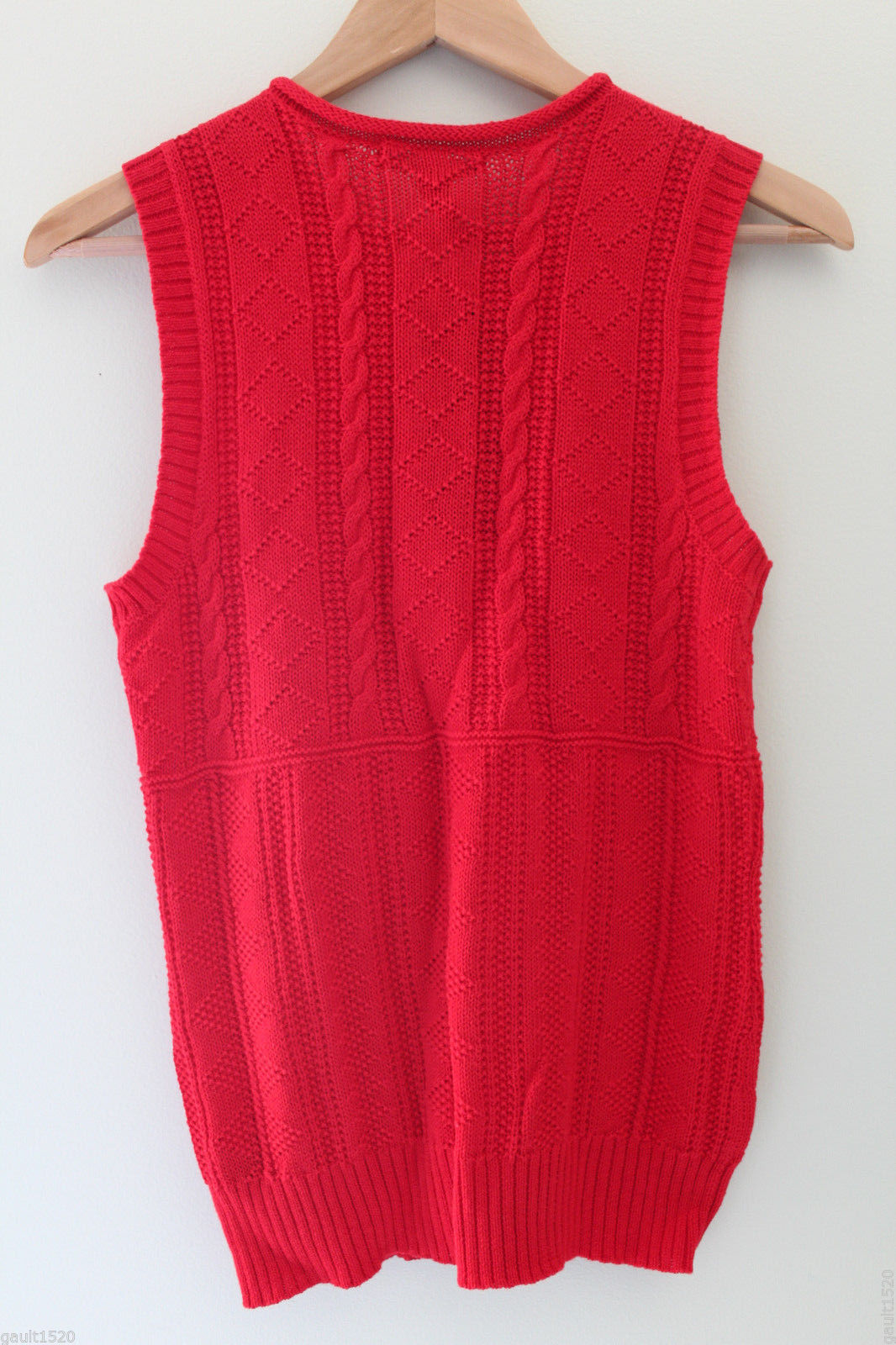 NWT LAUREN Ralph Lauren Red Linen Cotton Knit Sleeveless Sweater Vest M $100 image 6