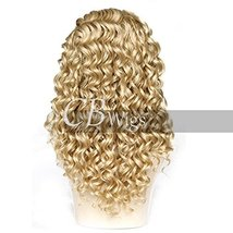 Cbwigs Realistic Looking Long Curly Blonde Highlights Brown Synthetic Lace Front image 3