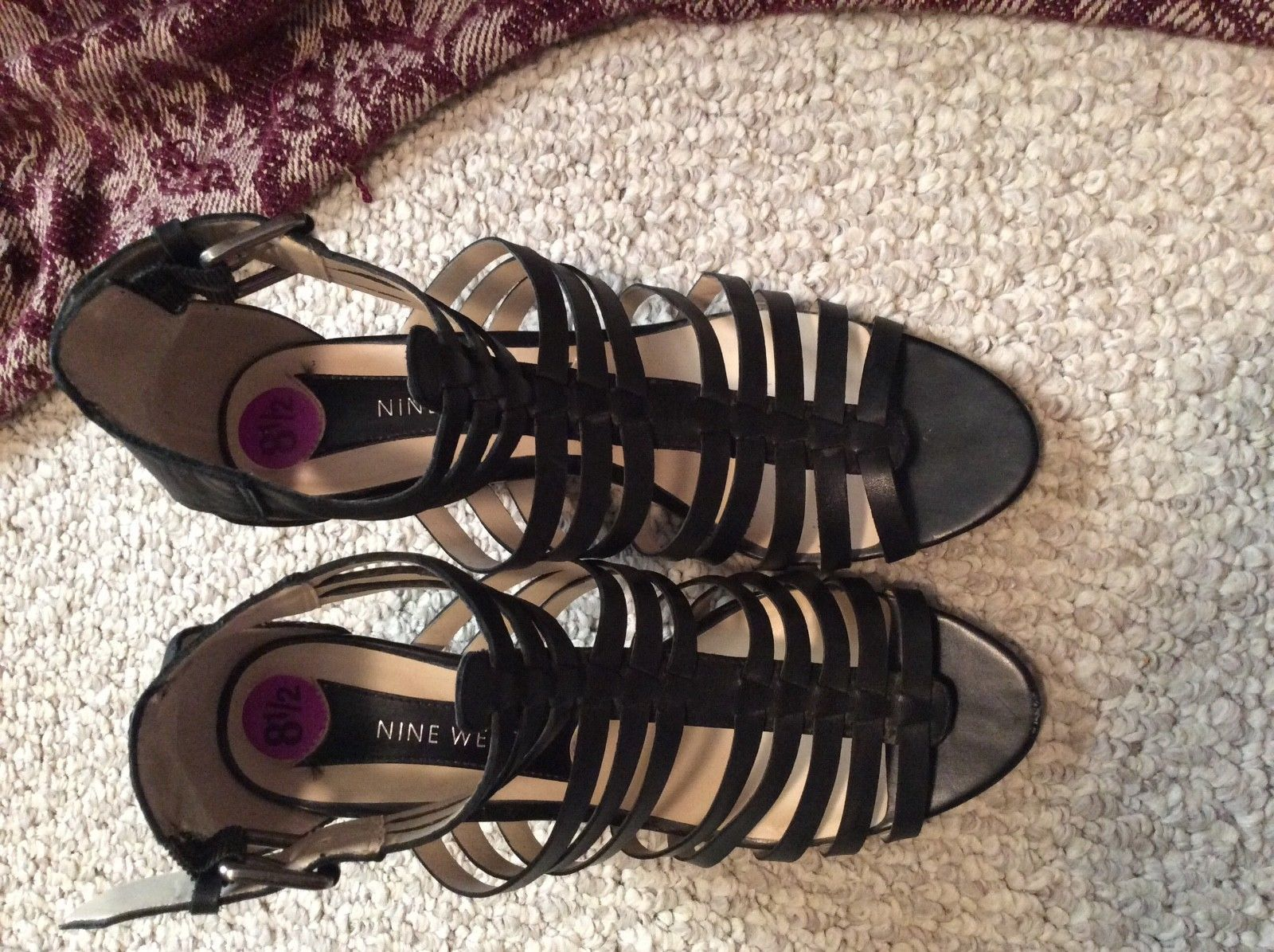 Womens 8.5 8 1/2 NINE WEST Blk Leather Hi Heel shoes Strappy Sandals CUTE! EUC