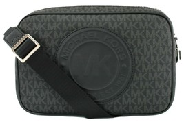 Michael Kors Fulton Sport PVC Monogram Cross Body Box Bag Black Medium H... - $211.54