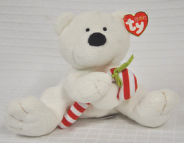 New Candy Cane Ty Pluffies Tylux Soft Teddy Lovey Plush White 2005 Bear Holiday - $9.90