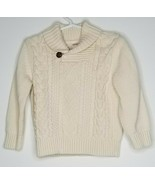 Gymboree Boys Knit Cables Off-White Cream Cotton Sweater Shirt 3T Long S... - $9.99