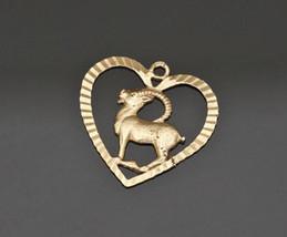 Fine Vintage 18K Yellow Gold  Pendant, Delicate Antelope Figure, L 2.2 cm - $83.30